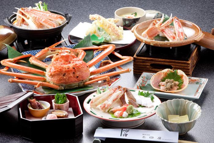 三國屋のカニフルコースの料理例